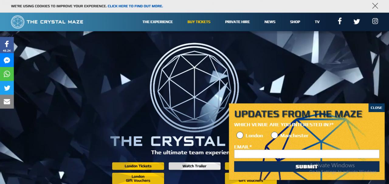 the crystal maze.com website snippet 1