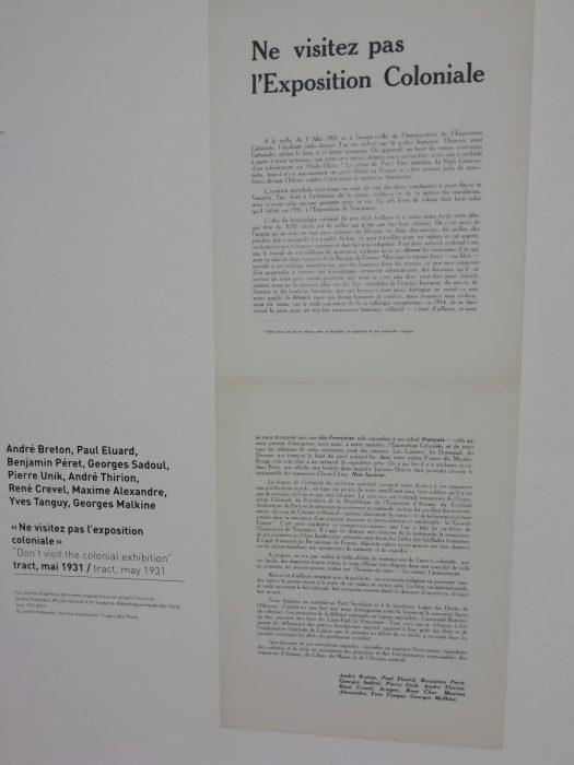 Scrisoarea semnata de Andre Breton, Paul Eluard, Georges Malkine, Yves Tanguy și alți artiști pentru a descuraja expozițiile coloniale