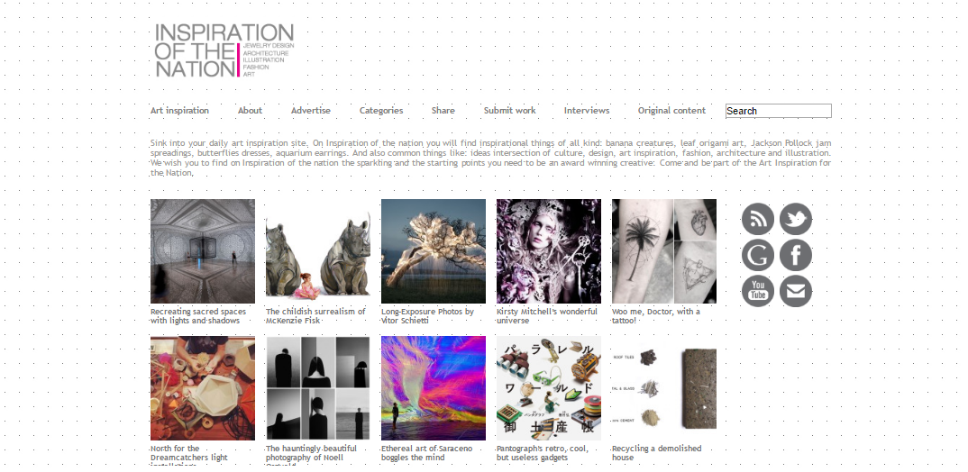 Inspiration of the nation - homepage with articles